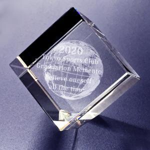【お届け2週間】 記念品、メッセージ彫刻3D地球 クリスタルペーパーウェイト【彫刻代込み】 圧角50mm斜め置き|ginzagift