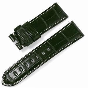 RASINオリジナル パネライ ルミノール 尾錠用革ベルト クロコダイル 裏ラバーコーティング 艶消し 緑/グリーン 24mm-22mm OPLNAB2422 新品 腕時計 ストラップ|ginzarasin
