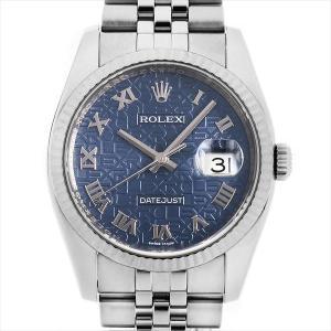 48回払いまで無金利 ロレックス デイトジャスト 116234 ブルー/ローマ ランダムシリアル 中古 メンズ 腕時計|ginzarasin