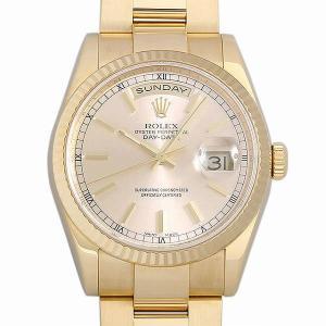48回払いまで無金利 ロレックス デイデイト 118238 シャンパン/バー P番 中古 メンズ 腕時計|ginzarasin