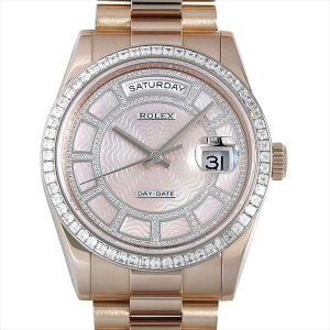 48回払いまで無金利 ロレックス デイデイト36 カルーセル ベゼルダイヤ 118395BR ピンクシェル 中古 メンズ 腕時計|ginzarasin