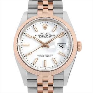 48回払いまで無金利 ロレックス デイトジャスト 36 126231 ホワイト/バー/3列/オイスターブレス ランダムシリアル 中古 メンズ 腕時計|ginzarasin