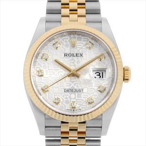 48回払いまで無金利 ロレックス デイトジャスト36 10Pダイヤ 126233G シルバー彫りコンピューター 中古 メンズ 腕時計|ginzarasin