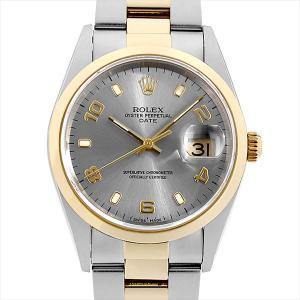 ロレックス オイスターパーペチュアル デイト U番 15203 グレー/飛びアラビア 中古 メンズ 腕時計