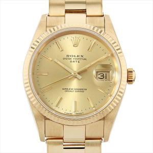 48回払いまで無金利ロレックス オイスターパーペチュアル デイト 15238 シャンパン/バー F番 中古 メンズ 腕時計|ginzarasin