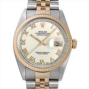 48回払いまで無金利 ロレックス デイトジャスト 16013 アイボリー/ローマ R番 中古 メンズ 腕時計|ginzarasin