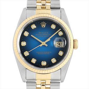 48回払いまで無金利 SALE ロレックス デイトジャスト 10Pダイヤ 16233G ブルーグラデーション T番 中古 メンズ 腕時計 ginzarasin