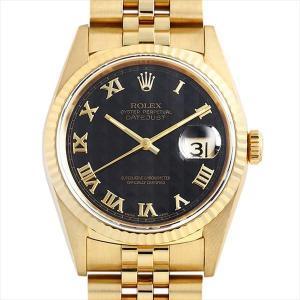 48回払いまで無金利 ロレックス デイトジャスト 16238 ブラックピラミッド/ローマ L番 中古 メンズ 腕時計|ginzarasin