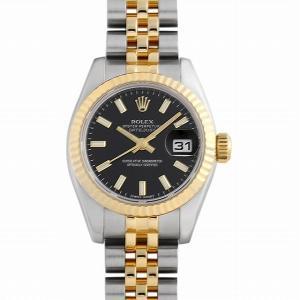 48回払いまで無金利 ロレックス デイトジャスト 179173 ブラック/バー ランダムシリアル 中古 レディース 腕時計|ginzarasin