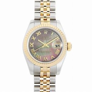 48回払いまで無金利 ロレックス デイトジャスト 179173NR ブラックシェル/ローマ F番 中古 レディース 腕時計|ginzarasin