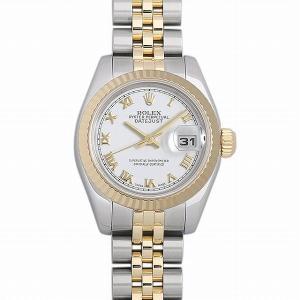 48回払いまで無金利 ロレックス デイトジャスト 179173 ホワイト/ローマ D番 中古 レディース 腕時計|ginzarasin
