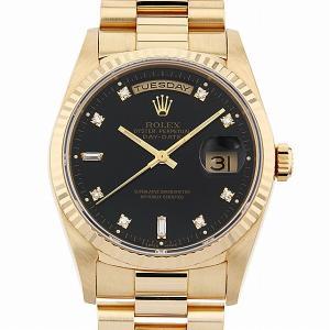 48回払いまで無金利 ロレックス デイデイト 8Pラウンド/2Pバケットダイヤ 18238A ブラック S番 中古 メンズ 腕時計|ginzarasin
