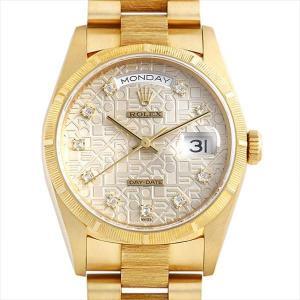 48回払いまで無金利 ロレックス デイデイト バークベゼル 10Pダイヤ 18248G シルバー彫りコンピューター E番 中古 メンズ 腕時計|ginzarasin