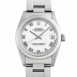 48回払いまで無金利 ロレックス デイトジャスト 68240 ホワイト/ローマ A番 中古 レディース 腕時計|ginzarasin