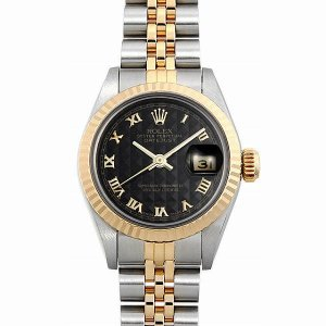 48回払いまで無金利 ロレックス デイトジャスト 69173 ブラックピラミッド/ローマ R番 中古 レディース 腕時計|ginzarasin