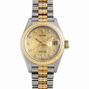 48回払いまで無金利 ロレックス デイトジャスト 10Pダイヤ トリドール 69179G BIC シャンパン彫りコンピューター X番 中古 レディース 腕時計|ginzarasin