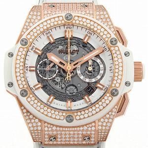 48回払いまで無金利 ウブロ キングパワー ウニコ キングゴールド ホワイト パヴェダイヤ 701.OE.0128.GR.1704 中古 メンズ 腕時計|ginzarasin