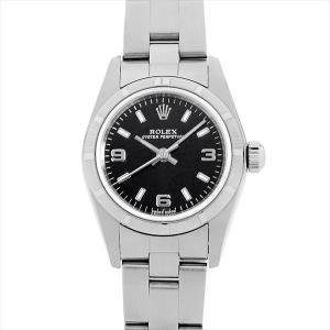 48回払いまで無金利 ロレックス オイスターパーペチュアル 76030 ブラック/369ホワイトバー K番 中古 レディース 腕時計|ginzarasin