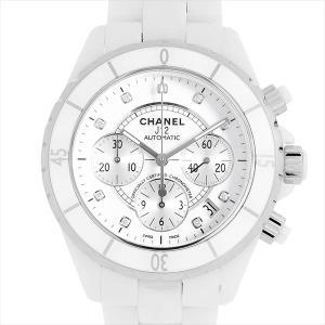 48回払いまで無金利 シャネル J12 クロノグラフ 白セラミック 9Pダイヤ H2009 中古 メンズ 腕時計|ginzarasin