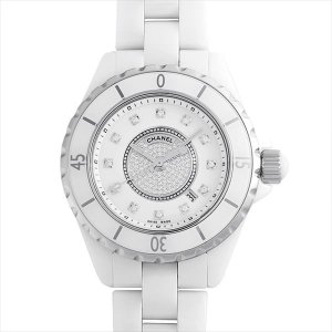 48回払いまで無金利 シャネル J12 白セラミック センターダイヤ 12Pダイヤ H2123 中古 レディース 腕時計|ginzarasin