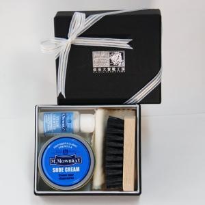 シューケアセット(リボン付き) ミニ 銀座大賀靴工房ボックス M.MOWBRAY シュークリーム 靴磨きセット 紙箱 モゥブレィ エム モウブレイ|ginzatiger