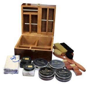 【送料無料】 靴磨きセット サフィール ノワール スープリームセット(専用化粧箱(木箱)入り)  SaphirNoir シューケアセット ボックス BOX 革靴 手入れ|ginzatiger