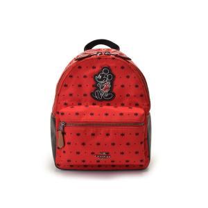 未使用コーチ COACH バックパック Disneyコラボ 限定 ナイロン レザー 赤 黒 ペイズリー柄 F59831 アウトレット ミッキーマウス リュック 中古|ginzo1116