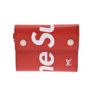 Supreme×Louis Vuittonの長財布『チェーンコンパクトウォレット』赤のエピレザーに白...