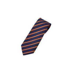 新品エルメス HERMES ネクタイ ストライプ 紺 オレンジ シルク54% コットン46% 箱付き|ginzo1116