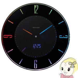 在庫僅少 リズム時計 Rhythm 掛け時計 置き時計 電波時計 LED使用 黒 AC電源式 8RZ197SR02/srm|gioncard