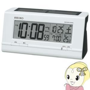 セイコークロック 目覚まし時計 ハイブリッドソーラー 電波 デジタル カレンダー・温度表示 白パール SQ766W SEIKO|gioncard