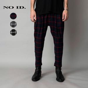 NO ID. ノーアイディ メンズ チェック 2タック テーパード トラウザーパンツ|gios-shop