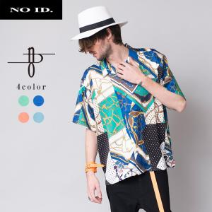 NO ID. BLACK ノーアイディーブラック 総柄 オープンカラー ビッグシャツ 半袖シャツ メンズ|gios-shop