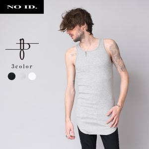 NO ID. BLACK ノーアイディー ブラック コットンテレコ ラウンド カットオフ タンクトップ メンズ|gios-shop