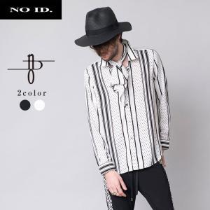 NO ID. BLACK ノーアイディー ブラック ストライプ ドット ストール付き ショートカラー シャツ 長袖シャツ メンズ|gios-shop