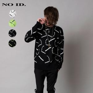 NO ID. ノーアイディ メンズ コットンニット シガレット ジャガードニット クルーネック ビッグプルオーバー|gios-shop