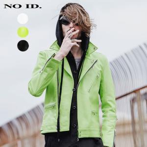 NO ID. ノーアイディ メンズ カウレザー セミアニリンサイクロン タイプ ダブル ライダース ジャケット|gios-shop