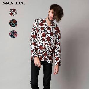 NO ID. ノーアイディ メンズ ローズプリント オープンカラー 長袖 シャツ|gios-shop