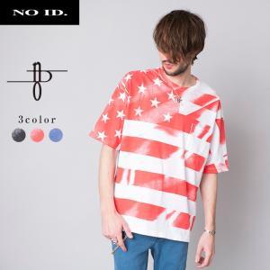 NO ID. ノーアイディー フラッグ プリント 半袖 Tシャツメンズ 星|gios-shop