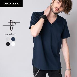 NO ID. ノーアイディー Cパールヴァティシルケットスムース Vネック 半袖 Tシャツ メンズ 無地 黒 白 グレー ネイビー|gios-shop