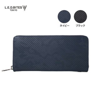 LED BITES エルイーディーバイツ ブランド ラウンドファスナー 長財布 ブランド 牛革 メンズ レディース 黒 紺|gios-shop