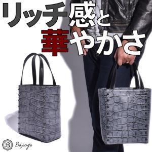 BajoLugo バジョルゴ クロコ型押しグレー ブラックスタッズ付き バケツ型ミニトートバッグ|gios-shop