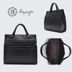 BajoLugo バジョルゴ クロコダイル型押し 前ポケット ミニトート バッグ ブラック 鞄 gios-shop