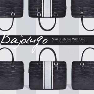 BajoLugo バジョルゴ ミニブリーフバッグ クロコ型押しブラックラインデザイン レザー 黒 白|gios-shop