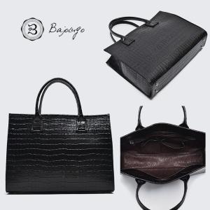 BajoLugo バジョルゴ クロコ型押し トートバッグ ブラック 黒 鞄 バッグ|gios-shop