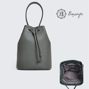 【数量限定商品】 BajoLugo バジョルゴ 巾着 シボ ダークグリーン バッグ 鞄 国産天然牛革|gios-shop