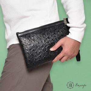 【8月中旬入荷予定】 BajoLugo バジョルゴ チビクラッチ スターレザーブラック × スムースブラック バッグ 鞄 クラッチ 星 レザー 日本製|gios-shop