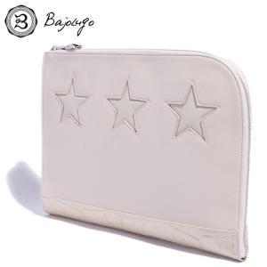 BajoLugo バジョルゴ クラッチ バッグ スター クロコ 型押し オフホワイト レザー メンズ レディース gios-shop