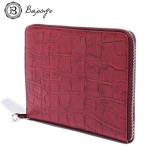 BajoLugo バジョルゴ 財布 ウォレット クラッチ バッグ 鞄 カバン クロコダイル メンズ ワイン|gios-shop