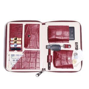 BajoLugo バジョルゴ 財布 ウォレット クラッチ バッグ 鞄 カバン クロコダイル メンズ ワイン|gios-shop|06
